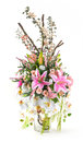 Bouquet of orchid and lily in glass vase rose on white Royalty Free Stock Photo
