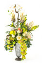 Bouquet of orchid and rose in glass vase Royalty Free Stock Photo