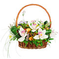 Bouquet from orchids in in wicker basket isolated on white backg background closeup Stock Photo