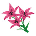 Bouquet of origami flower lily over white three flowers lilies isolated on background traditional japanese vector illustration Stock Photos