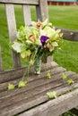 Bouquet on park bench