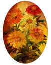 Bouquet picture oil paints on a canvas of flowers my own artwork Royalty Free Stock Images