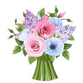 Bouquet of pink blue and purple roses lisianthus and lilac flowers vector illustration green leaves Royalty Free Stock Images