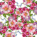 Bouquet pink flower, watercolor, patten seamless Royalty Free Stock Photo