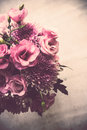 Bouquet of pink flowers closeup, eustoma and chrysanthemum Royalty Free Stock Photo
