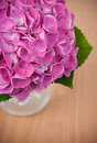 Bouquet pink hydrangeas wooden table closeup Royalty Free Stock Photography