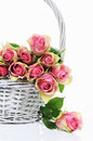 Bouquet of pink roses in basket Stock Photography