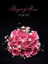 Bouquet of pink roses on black background bridal Royalty Free Stock Photography