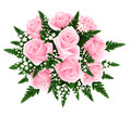 Bouquet of pink roses with fern and gypsophila. Ve Stock Images