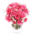 Bouquet of pink roses in vase isolated on white background bridal Stock Image