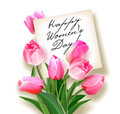 Bouquet of pink tulips with a note inside. Greeting card to Women`s Day.