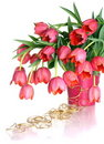 Bouquet of pink tulips on a white background. Stock Image