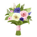 Bouquet of pink, white and blue flowers. Vector illustration. Royalty Free Stock Photo