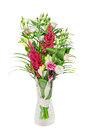 Bouquet of Pink, white Eustoma, Lisianthus flowers and Red Astilbe flowers known as false goats beard and false spirea Royalty Free Stock Photo