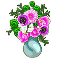 Bouquet of pink and white flowers in a vase