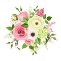 Bouquet of pink and white flowers. Vector illustration. Royalty Free Stock Photo