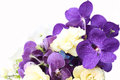 Bouquet with purple orchids, roses, Hydrangea flower Royalty Free Stock Photo