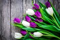 Bouquet of purple and white tulips on a rustic background Royalty Free Stock Photo