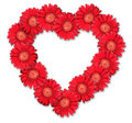 Bouquet of red flowers as heart-form Stock Photo