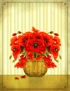 Bouquet of red poppy flowers in basket Royalty Free Stock Photos