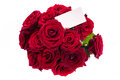 Bouquet of red roses with a blank on white background Stock Photos