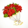 Bouquet of red roses valentines day gift isolated on white background Stock Photos