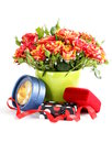 Bouquet of red roses in a vase and gift box on white background Royalty Free Stock Image