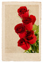 Bouquet of red roses in vintage postcard style romantic sentimental floral background Stock Photography