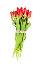 Bouquet Of Red Tulips Decorate...