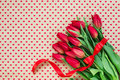 Bouquet Of Red Tulips On Heart...