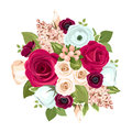 Bouquet with red, white and blue flowers. Vector illustration. Royalty Free Stock Photo