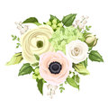 Bouquet with rose, anemone, ranunculus, lily of the valley and hydrangea flowers. Vector illustration. Royalty Free Stock Photo
