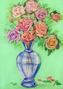 Bouquet of roses in a blue glass vase Royalty Free Stock Photo