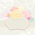 Bouquet of roses with an empty cartouche a tag reading love in soft pastel retro colours over or label copyspace for your Royalty Free Stock Photos