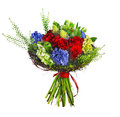 Bouquet of roses, hyacinthus and greens Royalty Free Stock Photos
