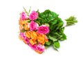 Bouquet of roses isolated on white background horizontal photo Stock Photo