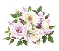 Bouquet of roses and lisianthus flowers vector illustration a with purple white pink purple berries green leaves Stock Photo