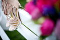 Bouquet and Shoes - Flowers for a wedding Royalty Free Stock Photos
