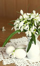 Bouquet of snowdrops and eggs Stock Images