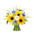Bouquet of sunflowers, daisies, cornflowers and ears of wheat. Vector illustration.
