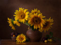 Bouquet of sunflowers in old clay jug in the foreground branches with ripe cherry plum Stock Photo