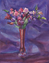 A bouquet of sweet pea flowers watercolor