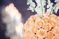 Bouquet of tea roses as a wedding table decor Royalty Free Stock Photo