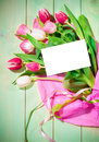 Bouquet of  tulips and card Royalty Free Stock Images