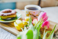 A bouquet of tulips foe breakfast