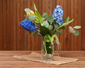 Bouquet from tulips and hyacinths Stock Images