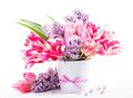 Bouquet from tulips and lilac Royalty Free Stock Image