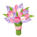 Bouquet of tulips and lilac flowers. Vector illustration. Royalty Free Stock Photo