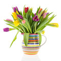 Bouquet tulips in vase with stripes Royalty Free Stock Photo