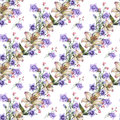 Bouquet white lily with blue bell flowers pattern seamless Royalty Free Stock Photo